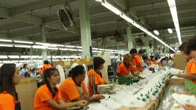 Shoe factory in Asia stock footage