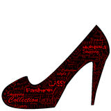Shoe with fashion shopping messages Royalty Free Stock Photos
