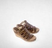 Shoe or female fashion sandal on background. Royalty Free Stock Images