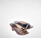 Shoe or female fashion sandal on background. Royalty Free Stock Photography