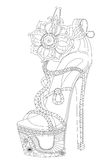Shoe with flowers. Coloring books for adults. Stock Images