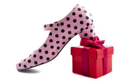 Shoe on gift Stock Photography