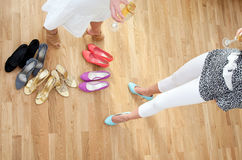 Shoe girls after shopping royalty free stock photo