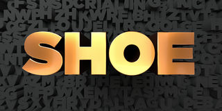 Shoe - Gold text on black background - 3D rendered royalty free stock picture Stock Image