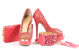 Shoe, handbag and belt Stock Image