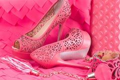 Shoe, handbag and belt isolated Stock Photos
