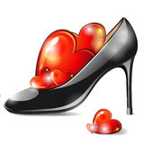 Shoe with hearts Royalty Free Stock Photos