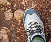 Shoe hiking along a trail stones Royalty Free Stock Photo