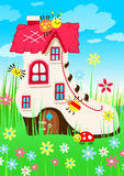 Shoe house with bugs and flowers Stock Image