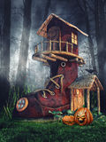 Shoe house with pumpkins Stock Photography