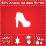 Shoe Icon Vector. And bonus symbol for New Year - Santa Claus, Christmas Tree, Firework, Balls on deer antlers Stock Images