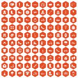 100 shoe icons hexagon orange. 100 shoe icons set in orange hexagon isolated vector illustration Royalty Free Stock Photography