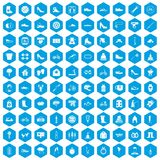 100 shoe icons set blue. 100 shoe icons set in blue hexagon isolated vector illustration Vector Illustration