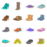 Shoe Icons Set, Cartoon Style Royalty Free Stock Images