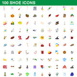 100 shoe icons set, cartoon style. 100 shoe icons set in cartoon style for any design vector illustration Royalty Free Stock Photo