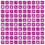 100 shoe icons set grunge pink. 100 shoe icons set in grunge style pink color isolated on white background vector illustration Royalty Free Stock Photos