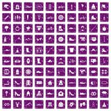 100 shoe icons set grunge purple. 100 shoe icons set in grunge style purple color isolated on white background vector illustration Royalty Free Stock Photos