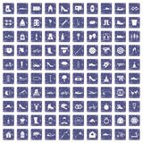 100 shoe icons set grunge sapphire. 100 shoe icons set in grunge style sapphire color isolated on white background vector illustration Royalty Free Stock Photography