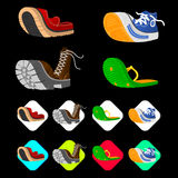 Shoe icons set in isometric 3d style. Men shoes set collection Royalty Free Stock Image