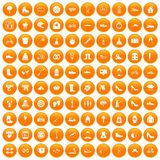 100 shoe icons set orange. 100 shoe icons set in orange circle isolated on white vector illustration stock illustration
