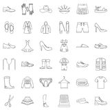 Shoe icons set, outline style Stock Photos
