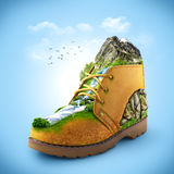 Shoe. Illustration of shoe with mountain and river. traveling Royalty Free Stock Photos