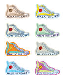 Shoe illustrations for various charities. Running shoe illustrations for generic and specific charities including Cancer and MS Royalty Free Stock Photos
