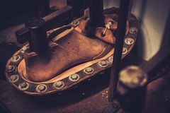 Shoe insole forming press. Royalty Free Stock Photos