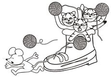 Shoe and kittens - coloring Stock Image