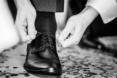 Shoe lacing Stock Image