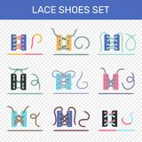 Shoe Lacing Ways Transparent Set Stock Images