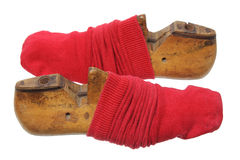 Shoe Lasts with Red Socks Stock Photography