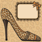 Shoe with leopard skin texture and lace Royalty Free Stock Images