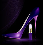 Shoe and lipstick in purple Stock Photography
