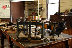 Shoe maker workshop. Vintage workshop of a shoemaker from Australian pioneer days Royalty Free Stock Photo