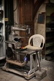 Shoe Making Machine, Tripoli, Lebanon. A tradional shoemaker atelier in an old souk in Tripoli, Lebanon Stock Photo