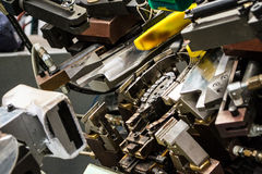 Shoe manufacturing machine Royalty Free Stock Images