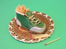 Shoe- match box Royalty Free Stock Photo