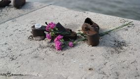 Shoe Memorial in Budapest. Shoes memorial on the Danube Bank in Budapest to commemorate the murdered Jews during The World War II Royalty Free Stock Photography