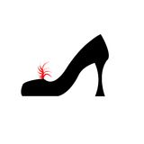 Shoe with path. Black shoe with red feather and clipping path Stock Image