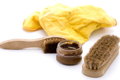 Shoe polish in brown Royalty Free Stock Image