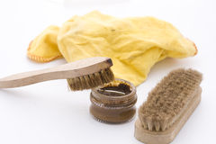 Shoe polish in brown Stock Images