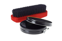 Shoe Polish and Brush Royalty Free Stock Photography