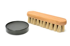 Shoe polish and brush Stock Photography