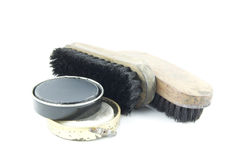 Shoe polish and tools Royalty Free Stock Images