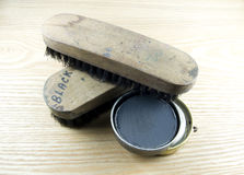Shoe polish and tools Stock Photo