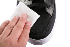 Shoe polishing close up Royalty Free Stock Image