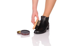 Shoe Polishing Royalty Free Stock Photography