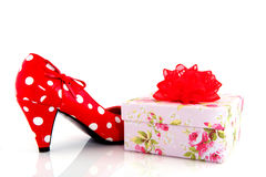 Shoe with present Stock Photo