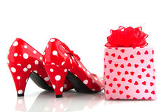 Shoe with present Stock Image
